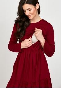Sukienka 1117705 falbany bordowa