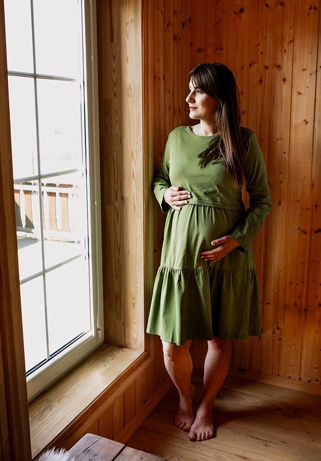 Sukienka 1117707C falbany zielona
